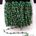 Malachite Smooth 3-35mm Beads Chain, Black Plated wire wrapped Rosary Chain, Jewelry Making Supplies (BPMC-30002)