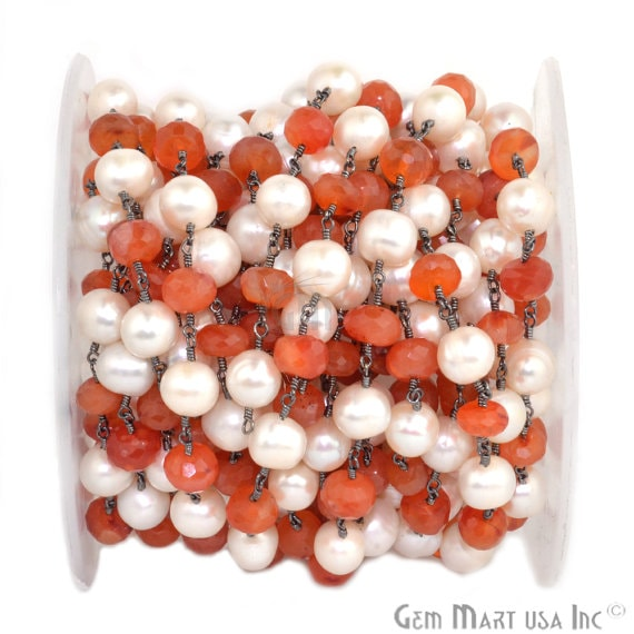 Carnelian with Pearl 7-8mm Beads Chain, Black Plated wire wrapped Rosary Chain, Jewelry Making Supplies (BPNP-30035)