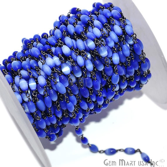 Royal Blue Monalisa Oval Rondelle Beads Chain, Black Plated wire wrapped Rosary Chain, Jewelry Making Supplies (BPOM-30085)