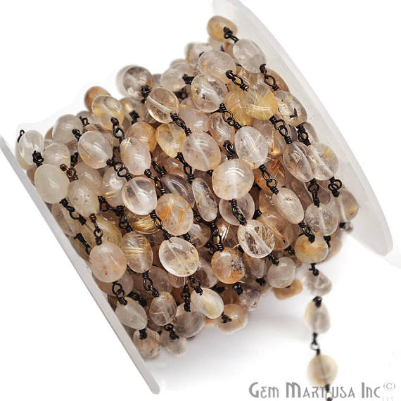 Golden Rutile Beads Chain, Black Plated wire wrapped Rosary Chain, Jewelry Making Supplies (BPOR-30044)