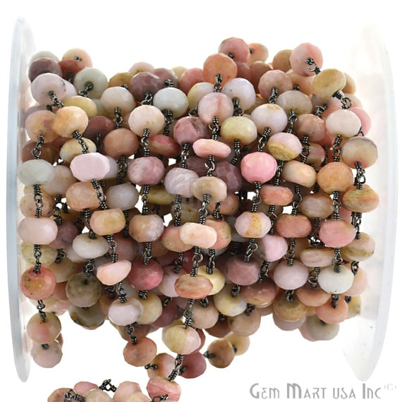 Pink Opal Rondelle 7-8mm Beads Chain, Black Plated wire wrapped Rosary Chain, Jewelry Making Supplies (BPPO-30035)