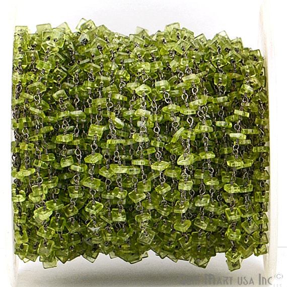 Peridot Square Shape Stone Beads Chain, Black Plated wire wrapped Rosary Chain, Jewelry Making Supplies (BPPT-30026)