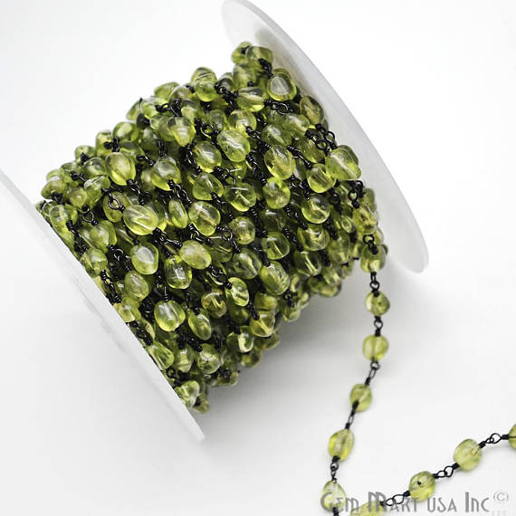 Peridot, Rosary ChainRondelle Beads Chain, Black Plated wire wrapped Rosary Chain, Jewelry Making Supplies (BPPT-30044)
