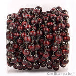 Red Wooden 7-8mm Beads Chain, Black Plated wire wrapped Rosary Chain, Jewelry Making Supplies (BPRE-30035)