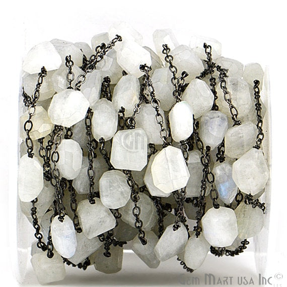 Rainbow Moonstone 10-15mm Mix Shapes Black Plated Bezel Wire Wrapped Rosary Chain (BPRM-20025)