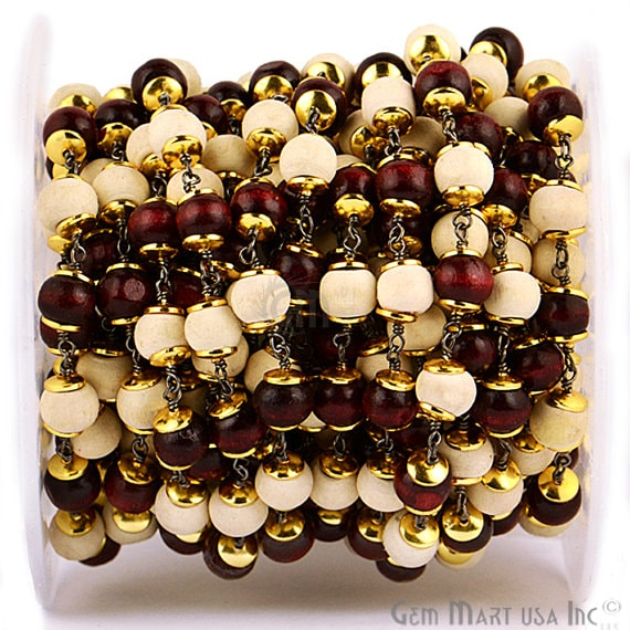 Red & White Wooden 7-8mm Beads Chain, Black Plated wire wrapped Rosary Chain, Jewelry Making Supplies (BPRW-30035)