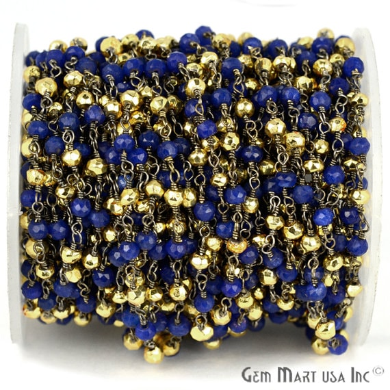 Blue Sapphire with Golden Pyrite 3-35mm Beads Chain, Black Plated wire wrapped Rosary Chain, Jewelry Making Supplies (BPSB-30002)