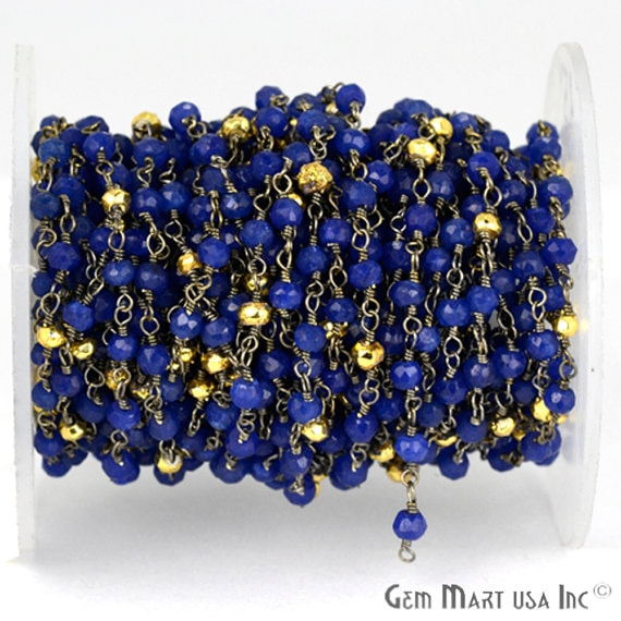 Blue Sapphire with Golden Pyrite 3-35mm Beads Chain, Black Plated wire wrapped Rosary Chain, Jewelry Making Supplies (BPSB-30003)