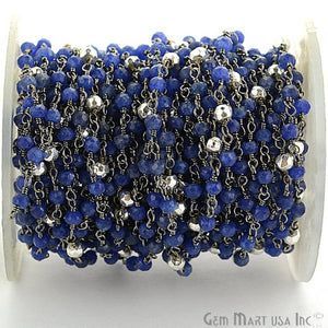 Sapphire With Silver Pyrite Oxidized Wire Wrapped Beads Rosary Chain - GemMartUSA