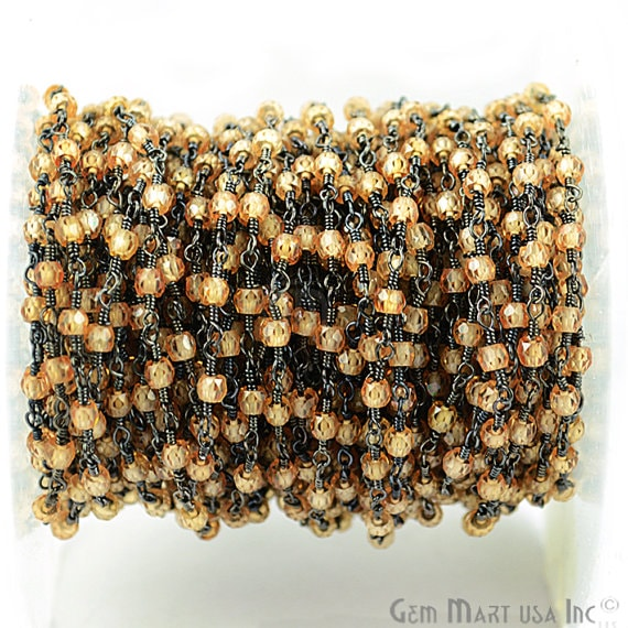 Caramel Zircon 25-3mm Beads Chain, Black Plated wire wrapped Rosary Chain, Jewelry Making Supplies (BPSK-30050)