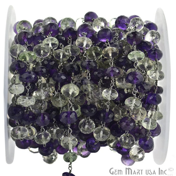Amethyst with Green Amethyst 7-8mm Beads Chain, Black Plated wire wrapped Rosary Chain, Jewelry Making Supplies (BPTG-30035)