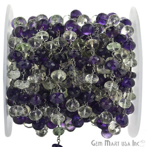 Amethyst With Green Amethyst Oxidized Wire Wrapped Beads Rosary Chain