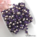 Amethyst with Pink Pearl Beads Chain, Black Plated wire wrapped Rosary Chain, Jewelry Making Supplies (BPTK-30092)