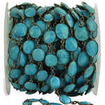 Turquoise Connector Chain, Black Plated Bezel Continuous Connector Chain, Jewelry Making Supplies (BPTQ-20005)