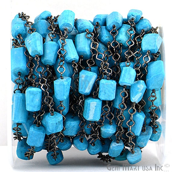 Turquoise 10-15mm Mix Shapes Black Plated Bezel Wire Wrapped Rosary Chain (BPTQ-20025)
