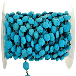 Turquoise Beads Oxidized Wire Wrapped Rosary Chain