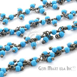 Turquoise Cluster Dangle Chains, Black Plated wire wrapped Beads Rosary Chain, Jewelry Making Supplies (BPTQ-30019)