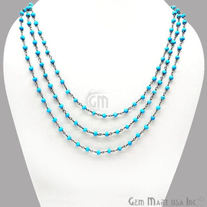 Turquoise 3-3.5mm Black Plated 18Inch Long Wire Wrapped Beads Necklace Chain