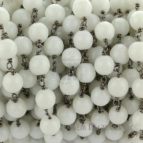White Agate 7-8mm Beads Chain, Black Plated wire wrapped Rosary Chain, Jewelry Making Supplies (BPWA-30035)