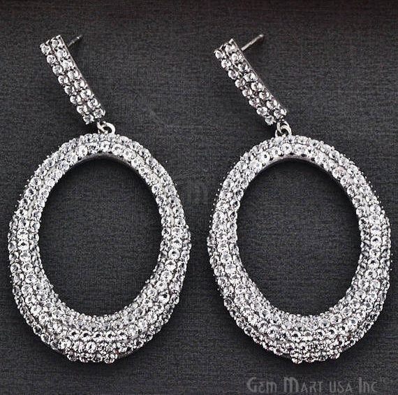 Black Plated Studded With Micro Pave White Topaz 65x33mm Dangle Earring (BPWT-90036)