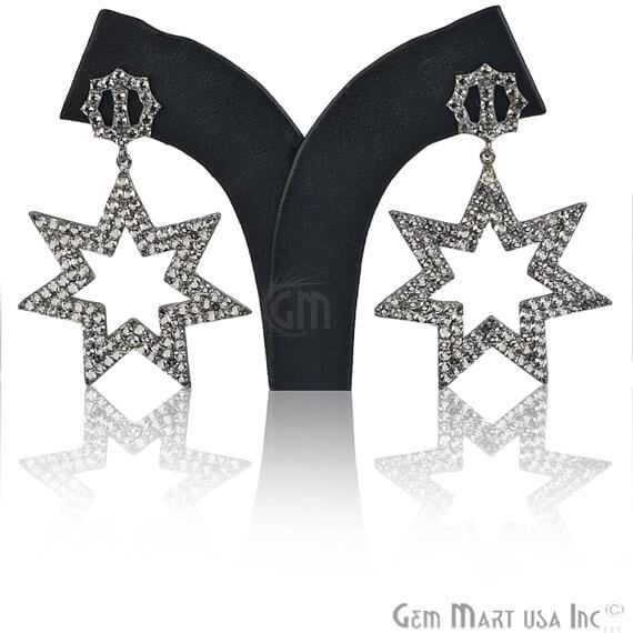 Black Plated Studded With Micro Pave White Topaz 65x33mm Dangle Earring (BPWT-90037)