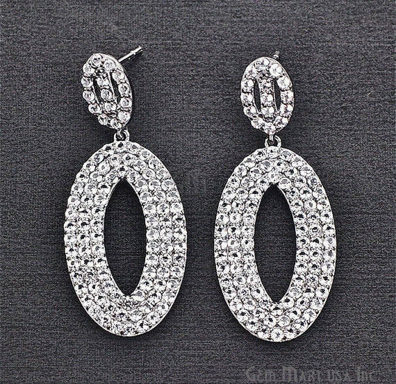 Black Plated Studded With Micro Pave White Topaz 48x20mm Dangle Earring