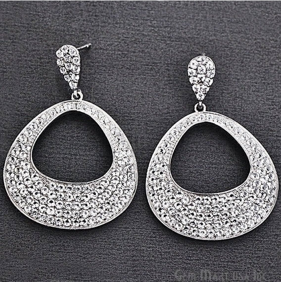 Black Plated Studded With Micro Pave White Topaz 51x34mm Dangle Earring