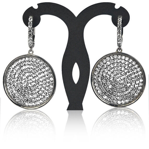 Black Plated Studded With Micro Pave White Topaz 52x31mm Dangle Earring