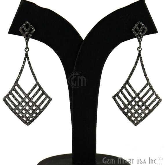 Black Plated Studded With Micro Pave White Topaz 10mm Dangle Earring