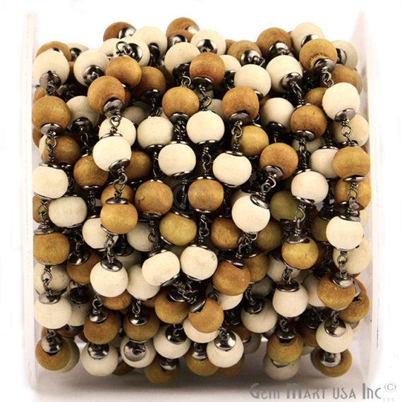 Yellow & White Wooden 7-8mm Beads Chain, Black Plated wire wrapped Rosary Chain, Jewelry Making Supplies (BPYW-30035)