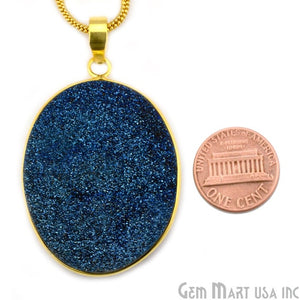 Blue Ttanium Druzy 35x49mm Gold Plated Oval Gemstone Chain Pendant - GemMartUSA