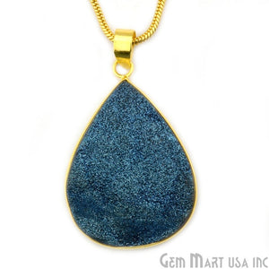 Blue Ttanium Druzy 35x50mm Gold Plated Pears Gemstone Chain Pendant - GemMartUSA