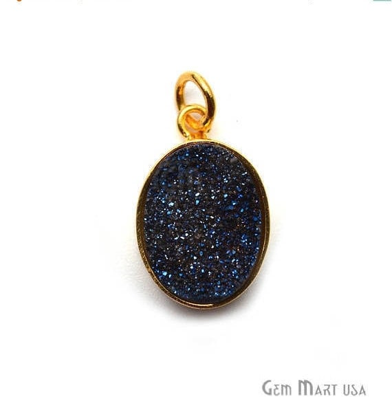 Blue Ttanium Druzy 21x13mm Gold Plated Oval Gemstone Chain Pendant