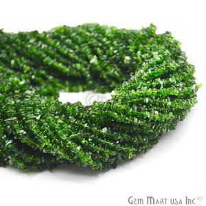 Chrome Diopside- Natural Stone - Smooth Chips 34 inches Full Strand (CHCD-70001)