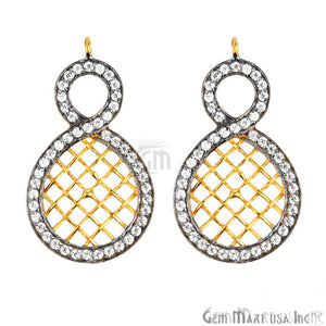 CZ Pave Charm Diamond CZ Pave Gold Plated Charm for Bracelet Pendants & Necklace (CHCZ-40110)