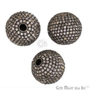 Ball Charms Diamond CZ Pave Gold Plated Charm for Bracelet Pendants & Necklace (CHCZ-40117) - GemMartUSA