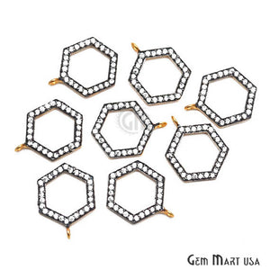 Hexagonal Charms Diamond CZ Pave Gold Plated Charm for Bracelet Pendants & Necklace (CHCZ-40118) - GemMartUSA