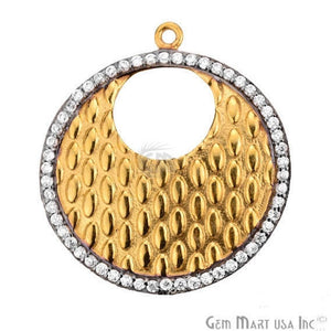 CZ Pave Charm Diamond CZ Pave Gold Plated Charm for Bracelet Pendants & Necklace (CHCZ-40123) - GemMartUSA