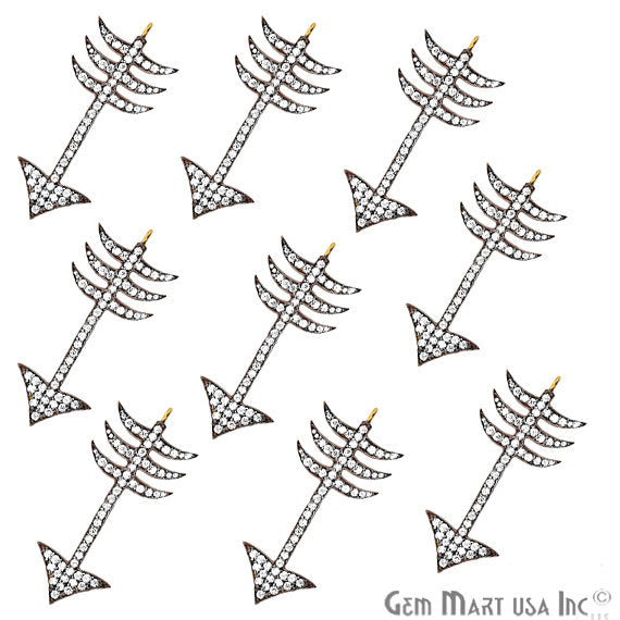 Arrow Shape Charms Diamond CZ Pave Gold Plated Charm for Bracelet Pendants & Necklace (CHCZ-40132)