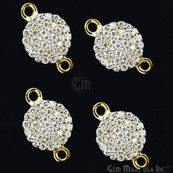 Coin Shape Charms Diamond CZ Pave Gold Plated Charm for Bracelet Pendants & Necklace (CHCZ-40155)