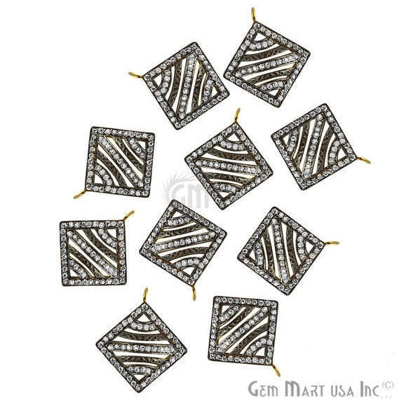 Square Shape Charms Diamond CZ Pave Gold Plated Charm for Bracelet Pendants & Necklace (CHCZ-40157)