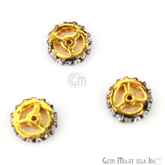 Wheel Shape Charms Diamond CZ Pave Gold Plated Charm for Bracelet Pendants & Necklace (CHCZ-40177)