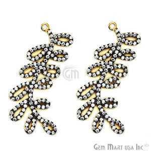 Leaf Shape Charms Diamond CZ Pave Gold Plated Charm for Bracelet Pendants & Necklace (CHCZ-40195)