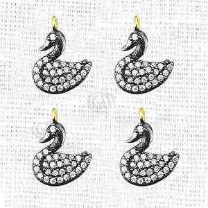 Duck Charms Diamond CZ Pave Gold Plated Charm for Bracelet Pendants & Necklace (CHCZ-40206)