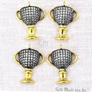 Trophy Cup Charms Diamond CZ Pave Gold Plated Charm for Bracelet Pendants & Necklace (CHCZ-40207) - GemMartUSA