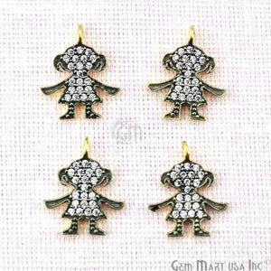 Baby Girl Charms Diamond CZ Pave Gold Plated Charm for Bracelet Pendants & Necklace (CHCZ-40208)