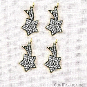 Shooting Star Charms Diamond CZ Pave Gold Plated Charm for Bracelet Pendants & Necklace (CHCZ-40212)