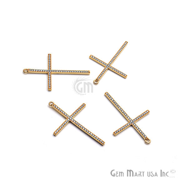 Cross Charms Diamond CZ Pave Gold Plated Charm for Bracelet Pendants & Necklace (CHCZ-40217)