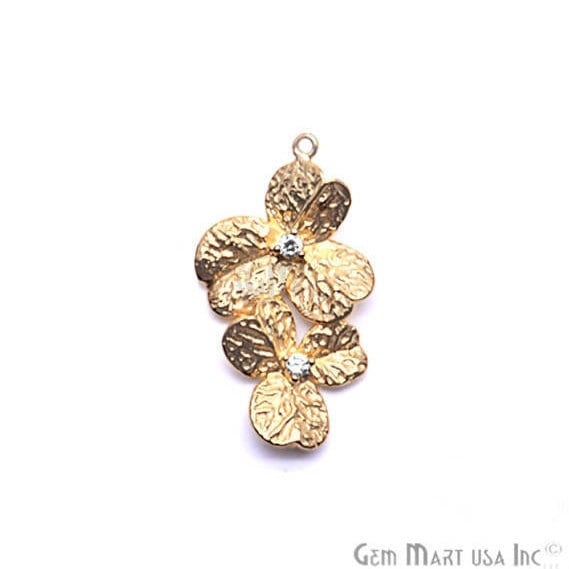 Orchid Charms Diamond CZ Pave Gold Plated Charm for Bracelet Pendants & Necklace (CHCZ-40225)