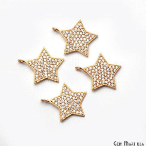 Star Charms Diamond CZ Pave Gold Plated Charm for Bracelet Pendants & Necklace (CHCZ-40227)